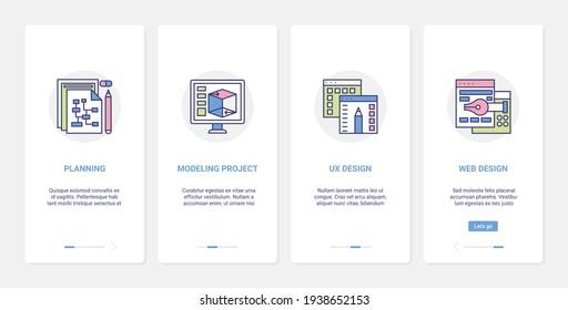 Planning modeling creative content, web design service vector illustration. UX, UI onboarding mobile app page screen set with line designer tools, computer equipment, development website technology