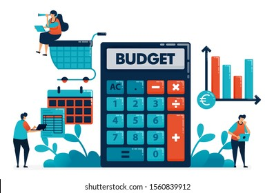 Planning monthly budget for shopping and purchase, manage financial plan with calculator, financial consulting software, banking accounting platform, illustration of website, banner, software, poster