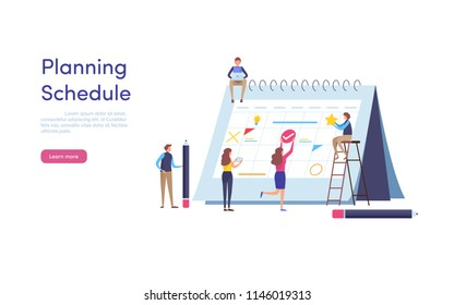 Planning Schedule. Big calendar. Timeline agenda. Cartoon miniature  illustration vector graphic on white background.