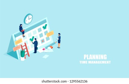 Planning schedule concept. Vector web banner of businesspeople busy with time management and planning. Isometric illustration isolated onlight blue background
