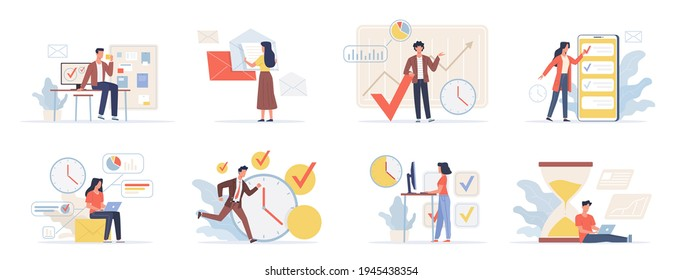 Planning schedule. Organization business process, productive activity, project time management. Office employees scheduling and complete work on deadline. Vector people set make timetable