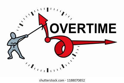 Planning time business management schedule concept. Overtime Extra Hours Work Icon Vector Illustration.