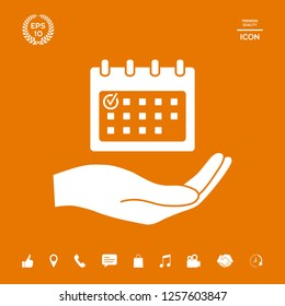 Planning, time management, hand holding calendar icon. Graphic elements for your design