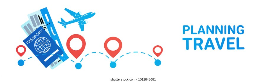 Planning Travel Horizontal Banner Holiday Route Choosing, Hotel And Tickets Booking Concept Flat Vector Illustration