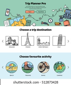 Planning a trip one page website design template. Hero image illustration, destinations and activities guide.