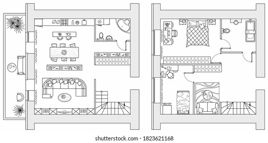 Planning of two storey apartment with arrangement furniture. Architectural drawing of the house (top view). Interior design  floor plan from above. Vector layout