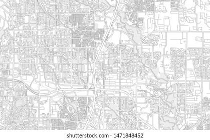 Plano, Texas, USA, bright outlined vector map with bigger and minor roads and steets created for infographic backgrounds.