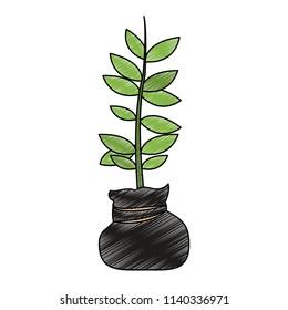 Plant in bag scribble