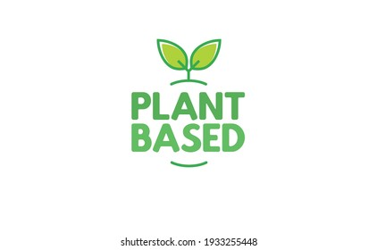 Plant based hand made text, hand drawn lettering style with leaves. Vegan and vegetarian food design concept. Veggie nutrition.