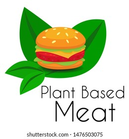 Plant based Meat hamburger icon with cheese burger on leaves