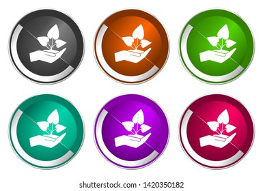Plant care hand vector icons. Chrome border round web buttons. Silver metallic pushbutton colorful set