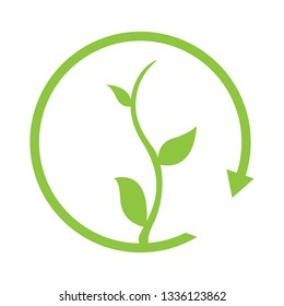Plant in a circular arrow. Eco icon. Vector illustration design