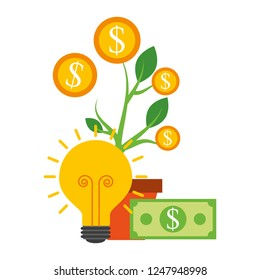 plant of coins dollar with light bulb and icons