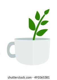 the plant in the cup flat vector  illustration