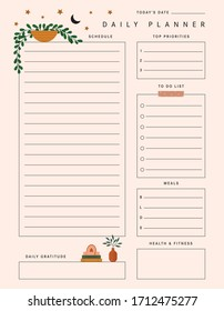 Plant Daily Planner Template in Vector for Notes, To Do List, Goals, and more.
