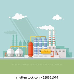 Plant for the extraction and processing of oil and gas. storage in tanks and barrels. Vector flat style