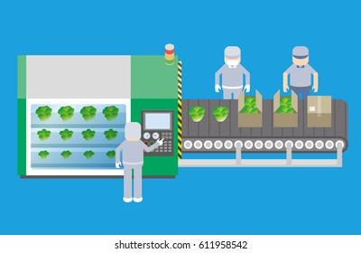 plant factory concept, vegetable plant, closed growing system for year-round production of vegetables
