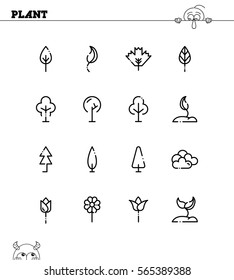 Plant flat icon set. Collection of high quality outline symbols for web design, mobile app. Plant vector thin line icons or logo.
