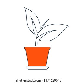 Plant In Flower Pot Icon. Thin Line With Red Fill Design. Vector Illustration.