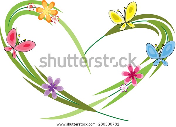 Plant Flowers Butterfly Heart Shape Stock Vector Royalty