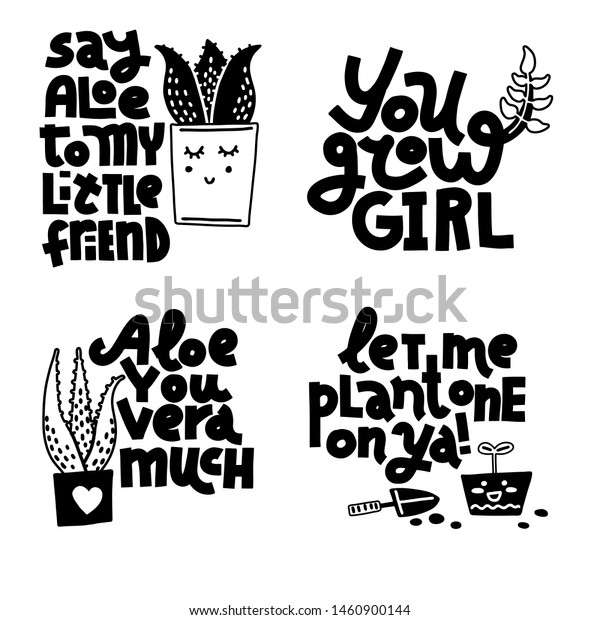 plant gardening jokes set monochrome lettering nature objects