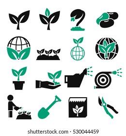 plant, grain icon set