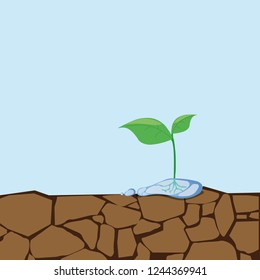Plant grow on crack dirt..Cracked clay. Water faucet. Go green. Save world. vector illustration