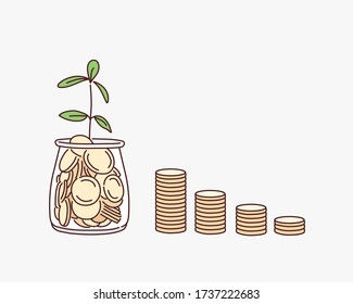 Plant growing from coins in the glass jar on blurred green natural background with copy space for business and financial growth concept. Hand drawn style vector design illustrations.