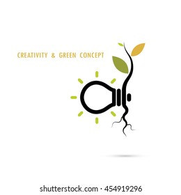 Plant growing inside the light bulb logo.Green eco energy logo concept.Tree of Knowledge concept.Creative and green logo.Education and business concept.Vector illustration