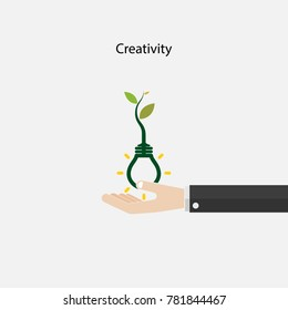 Plant growing inside the light bulb and human hand sign.Green eco energy concept.Tree of Knowledge concept. Education and business sign. Vector illustration