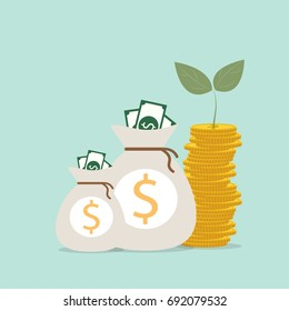 Plant Growing In Savings Coins - Investment And Interest Concept, Business investment growth concept, with stack money coin