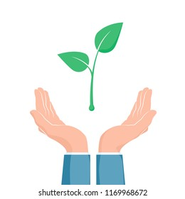 Plant growth between two hands. Eco symbol. Cupped hand that holds green plant seedling. Vector illustration
