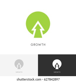 Plant growth logo - green tree and arrow symbol. Ecology, evolution and nature vector icon.