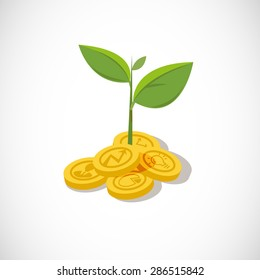 plant growth from money coin with icon of business and creativity. Business investment growth concept. startup - vector illustration