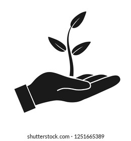 Plant in hand. Protection vector icon on white background