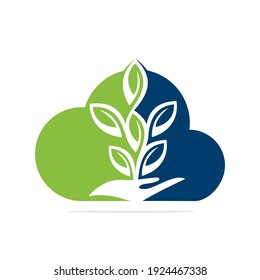 Plant in Hand Vector Logo Design. Natural Products in Cloud Shape. Cosmetics and Spa logo.
