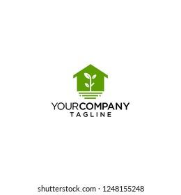 plant house logo vector icon