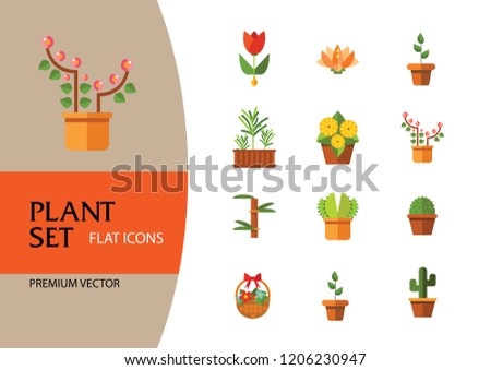 Plant Icon Set Basket Flowers Wheat Stock Vector Royalty Free