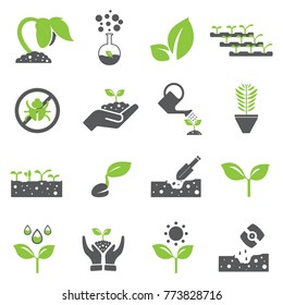 Plant icon set and Sprout growing icon set / nature / organic