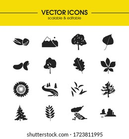 Plant icons set with caraway, canyon and pistachio elements. Set of plant icons and lush concept. Editable vector elements for logo app UI design.