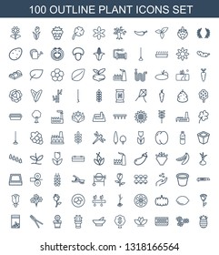 plant icons. Trendy 100 plant icons. Contain icons such as pineapple, flower, pot for plants, money tree, bowl, cactus, flower pot, garden tools. plant icon for web and mobile.