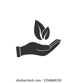 Plant leaf in hand icon. Vector illustration, flat design.