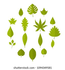 Plant leafs icons set in flat style isolated vector illustration - Shutterstock ID 1094349581
