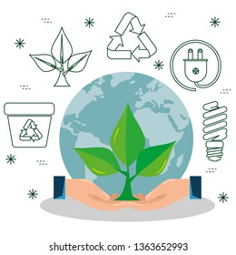plant with leaves in the hands with ecological element