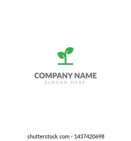 Plant logo or icon template vector design with green plant seeds