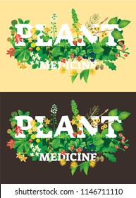 Plant medicine vector illustration. Beautiful herbal logo with natural flower blossom, leaves, hemp, strawberry and acorn set on dark and bright background. Text with forest mood and atmosphere.