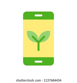 Plant on smart phone, Flat icon environmental friendly concept