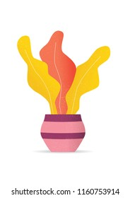 Plant in pot. Abstract Colors Vector Illustration