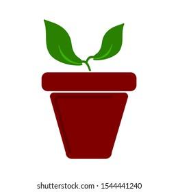 plant pot icon, vector flower plant, gardening illustration