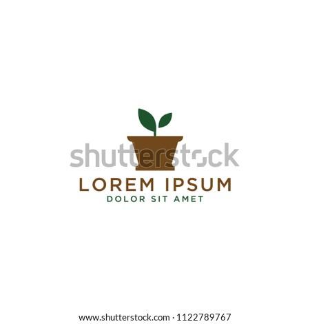 Flower Pot Template | Plant Pot Logo Design Template Stock Vector Royalty Free